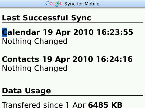 google sync blackberry