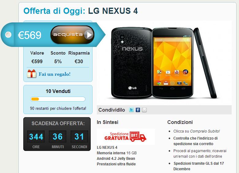 nexus 4 offerta