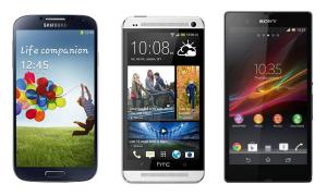 Samsung galaxy s 4 htc one sony xperia z