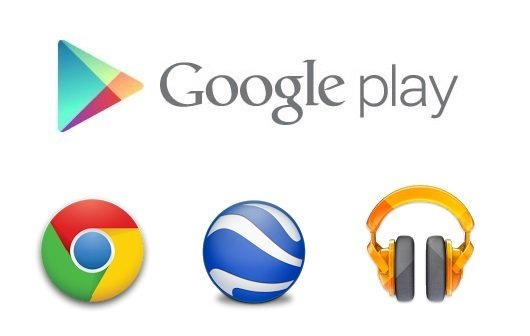 Play Store - Chrome - Play Music - Earth