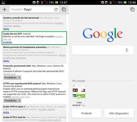 Chrome Beta Android Nuova Interfaccia Home Page