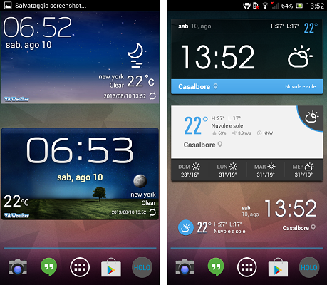 EZ Weather e YA Weather due ottime app meteo gratuite con Widget