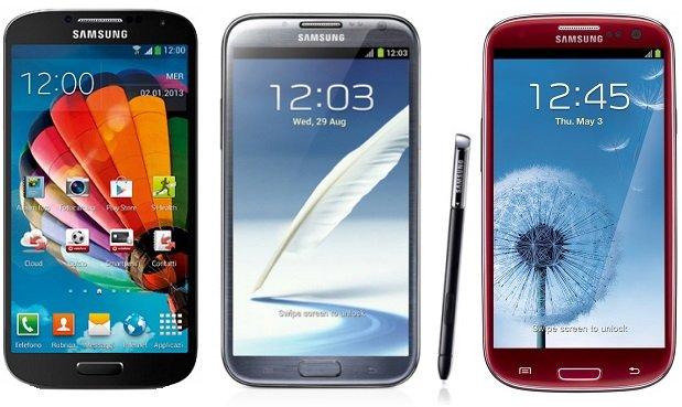 Galaxy S4, S3, Note 2 e Mega Android 4.3