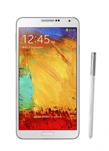 Galxy Note3 002 front with pen Classic White e1378318992772