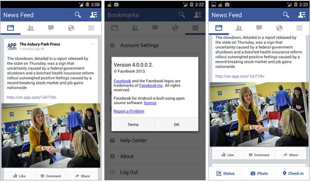 Facebook Androdi 4.0