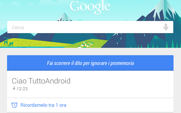 Google Now Promemoria