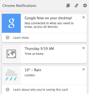 Google now chrome mac