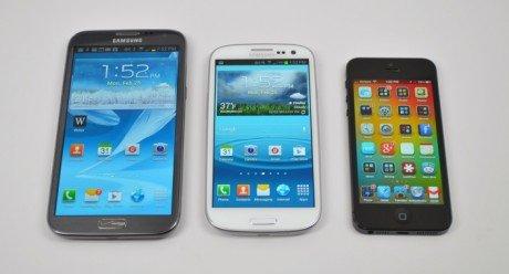 Samsung galaxy note 2 vs galaxy s3 vs iphone 5 1