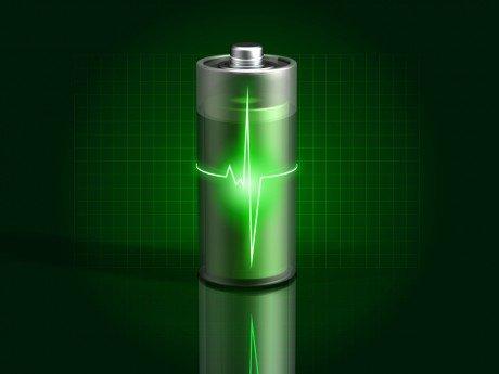 Glowing green battery charging