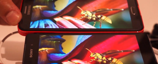 sony xperia z2 samsung galaxy note 3 display a confronto