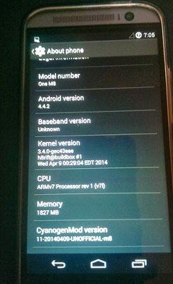 HTC One M8 CyanogenMod 11