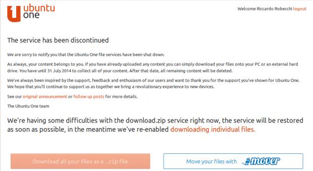Ubuntu One: schermata della disattivazione del servizio