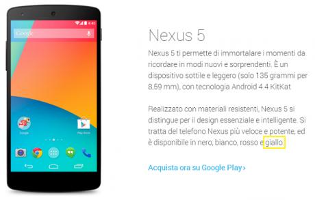 Nexus 5 giallo