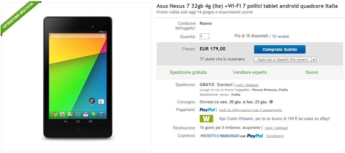 nexus 7 offerta yeppon 32gb 4g