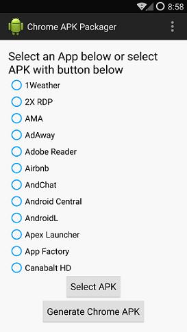 Chrome APK Packager