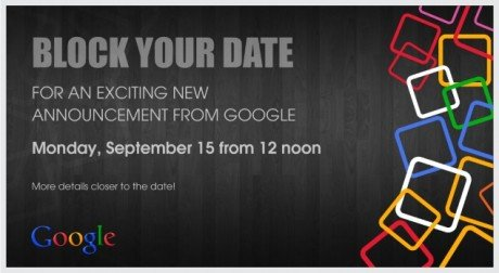 Google inviti evento 15 settembre