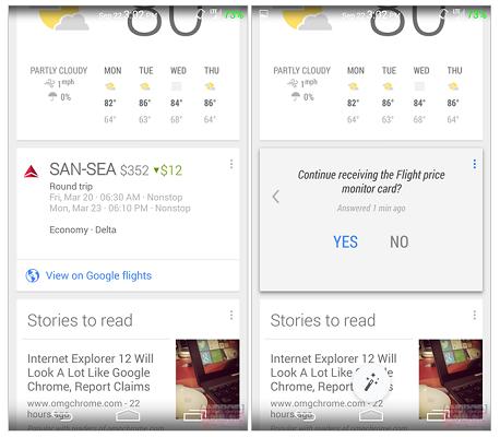 Google now scheda prezzi voli