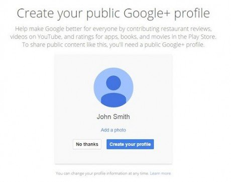 Mandatory google plus integration