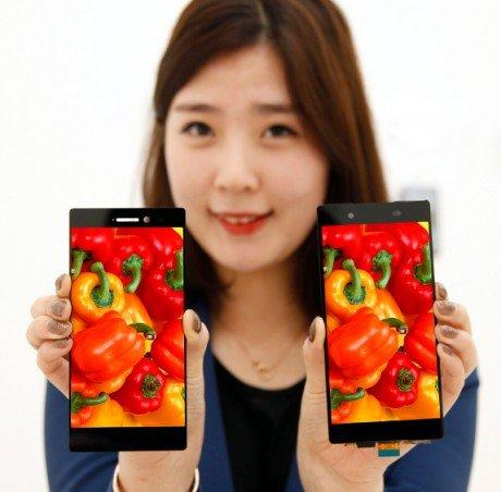 LG 1080p smartphone display with 0.7mm narrow bezel