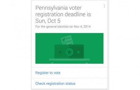 Google now voter registration