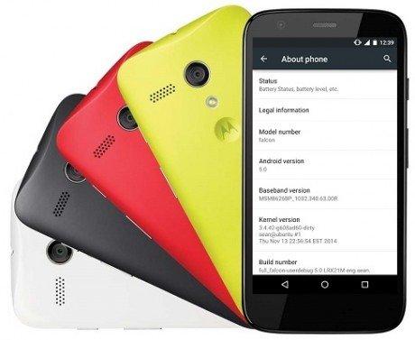 Android 5.0 lollipop motorola moto g1