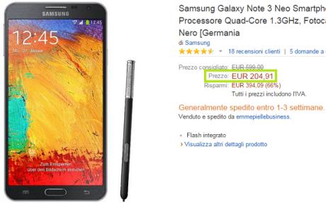 Galaxy note 3 neo prezzo