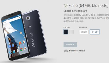 Nexus 6 prezzo ita