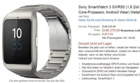 Sony SmartWatch 3 Stainless Steel prezzo
