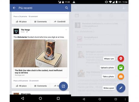 Facebook material design tasto