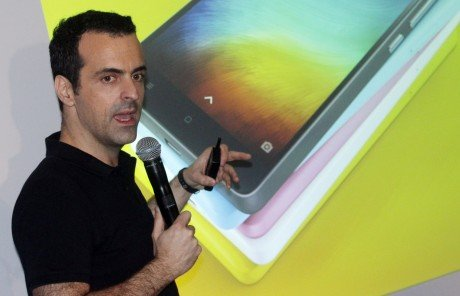 Vice President of Xiaomi Global Hugo Barra introduce its Mi 4i smartphone at the Hong Kong Arts Centre in Wan Chai 05MAY15