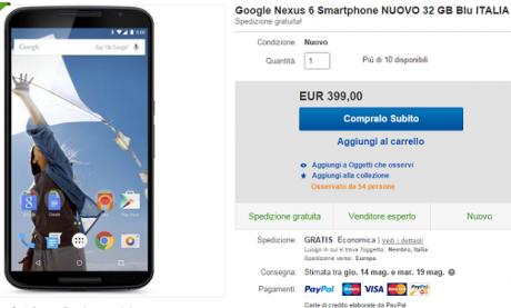 Nexus 6 mega offerta