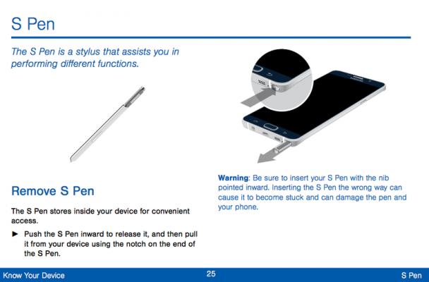 S Pen manual