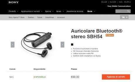 Sony auricolare