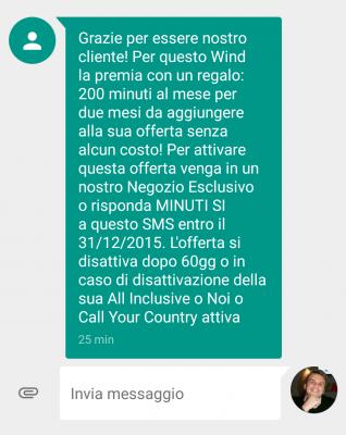 Wind offerta 200 minuti gratis