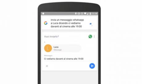 Google now ita whatsapp