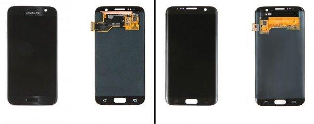 I display del Samsung Galaxy S7 (a sinistra) e del Galaxy S7 Edge (a destra)