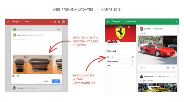 Google+ Web Preview Update Mar 16