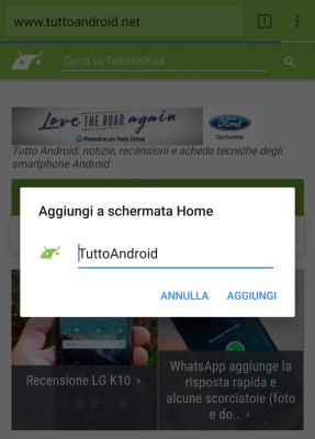 Scorciatoia Chrome Tutto Android