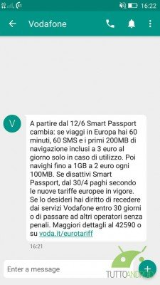 Rimodulazione Vodafone Smart Passport