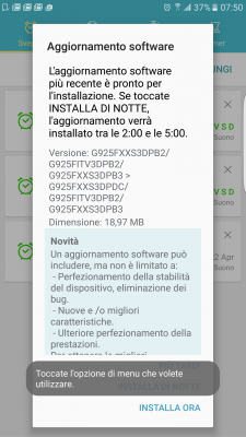 Screenshot patch aprile Galaxy S6