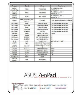 ASUS ZenPad Z500M FCC
