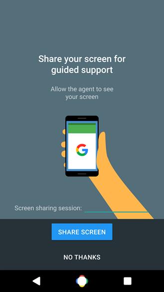 google support screen