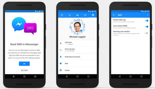Con Facebook Messenger per Android si inviano anche gli SMS