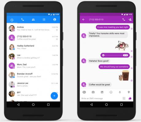 Arrivano gli Sms su Messenger per Android