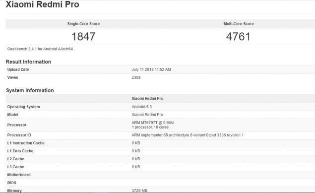 Xiaomi Redmi Pro GeekBench
