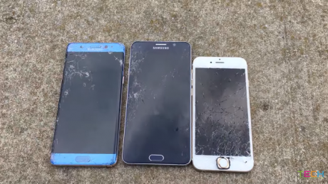 Galaxy Note 7 vs Note 5 vs iPhone 6S drop test