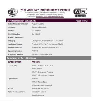 Samsung Galaxy A4 certificazione Wi-Fi