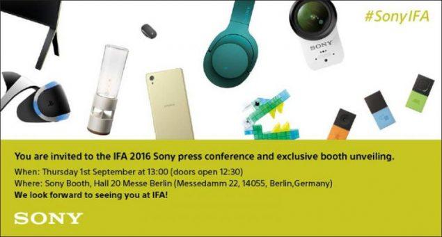 Sony invito IFA 2016