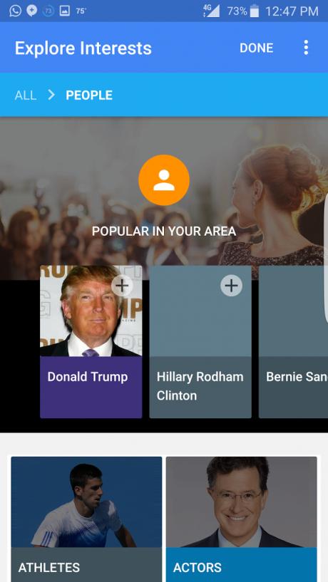 Explore interests google now