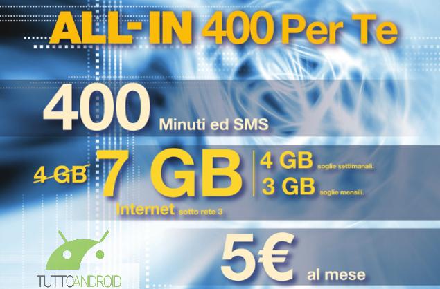 ALL-IN 400 Per te si rinnova in meglio offrendo 7GB di Internet